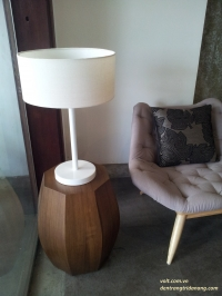 white lamp with round cover
