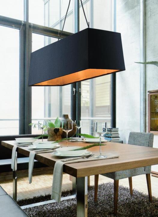 Đèn bàn ăn chữ nhật vải đen
